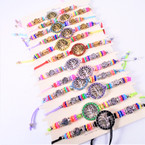Handmade Colorful Bead Cord Bracelets w/ Tree of Life 12 per card .54 each
