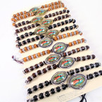 Handmade Wood & Crystal Bead Bracelets w/ Guadalupe  Disc 12 per card .54 each