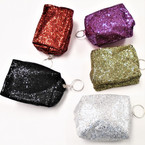 "4"" Sequin Coin Purse w/ Keychain Asst Colors .56 each"