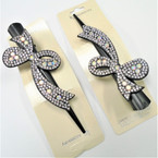 "5"" Black Salon Clips w/ Crystal Stone Design (114) .56 each"