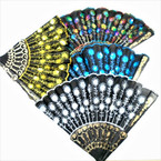 "9"" Black Handle Sequin Sun Brust Hand Fans asst colors .56 each"