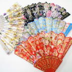 "9"" Asst Color Handle Metallic Pattern Hand Fans asst colors .56 each"