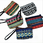 "5"" Baja Pattern Zipper Coin Purse w/ Wrislet 12 per pk  .58 each"