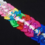 "5.5"" Unicorn Theme Gator Clip Bows w/ Sequin 12 per pk .54 each"