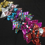 "6"" CHange Color Sequin Gator Clip Bows w/ Tails Asst Colors 12 per pk .54 each"