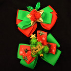 "5"" Red & Green Festive Christmas Holiday Gator Clip Bows .54 each"