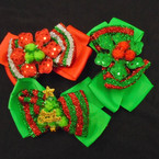 "5"" Red & Green Festive Sparkle Christmas Holiday Gator Clip Bows .54 each"