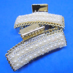 "3.5"" Elegant Gold Jaw Clips w/ Pearls 12 per pk .54 each"