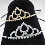 Gold/Silver Rhinestone Tiara Headbands Clear Stones (646) .65 each