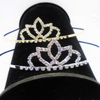 Gold/Silver Rhinestone Tiara Headbands Clear Stones (568) .65 each