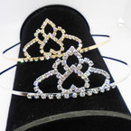 Gold/Silver Rhinestone Tiara Headbands Clear Stones (645) .65 each