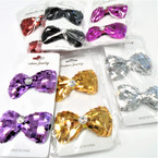 "2 Pack 3"" Sequin Gator Clip Bows w/ Stone .50 per set"