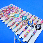 Colorful Beaded Cord Bracelets w/ Happy Shark 12 per card  .54 each