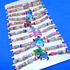 Beaded Cord  Bracelets w/ Gold,Silver & Colorful Turtles 12 per card .54 ea