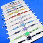 Beaded Cord  Bracelets w/ Colorful Mini Beaded  Turtles 12 per card .54 ea
