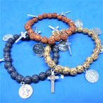 Wood Beaded Cross Bracelets w/ Silver Charms  .54 each