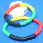 2 Pack Rasta Color Disc Style Stretch Bracelets .54 per set