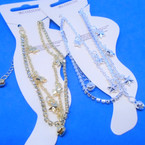 2 Strand Gold & Silver Anklets Rhinestone Line & Mini Star Line .54 each