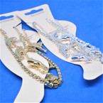 2 Strand Gold & Silver Anklets Rhinestone Line & Dolphin  Line .54 each