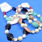 Arcylic ,Pearl & Cry. Stone Fireball Bead Fashion Stretch Bracelets .54 each