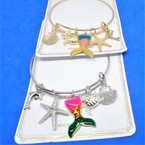 Gold & Silver  Wire Bangles w/ Mermaid & Under the Sea  Charms  .54 each