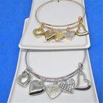 Gold & Silver  Wire Bangles w/ Mixed Heart  Charms  .54 each