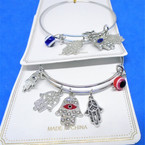Gold & Silver  Wire Bangles w/ Hamsa & Eye Bead  Charms  .54 each