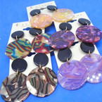 "1.5"" Marble Acrylic Fashion Earrings Mixed Designs .54 per pair"