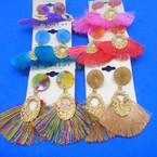 "2.5"" New Style Fringe Earrings w/ Acrylic Top .54 per pair"