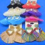 "2"" New Style Fringe Earrings w/ Acrylic Heart Theme .54 per pair"