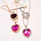 "18"" Gold & Silver Chain Neck Set w/ Gemstone Heart Pendant .54 per set"