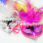 Metallic Party Mask w/ Faux Feathers Asst Colors .56 each