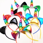 Unicorn  Fashion Headbands w/ Metallic Cat Ears  .56 each