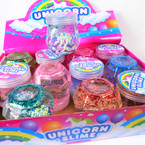 "2.75"" Unicorn Theme Glitter Slime in Fancy Container  12 per display .58 each"