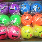 "Great New 2.5"" Emoji Face Stress Balls Soft & Squishy 12 per bx .65 each"