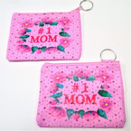 "3.5"" X 5"" I Love Mom Zipper Coin Purse w/ Keychain  12 per pk .58 each"