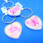 Heart Shape Breast Cancer Support  Theme Keychains 12 per pk .54 each