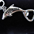 "3"" Silver Metal Florida Dolphin Opener Keychains  12 per pk .54 each"