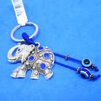 Cast Silver Crystal Stone Elephant Keychain w/ Eye Bead 12 per pk  .54 each