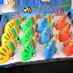"6"" Wind Up Wiggy Stripe Fish  Asst Colors 12 per display bx .66 each"