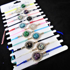 Cord Fashion Bracelets w/ Sparkle Round Stone 12 per cd .54 each