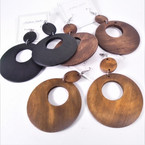 "2.5"" Donut Style  Round  Wood Earrings  Natural Colors  .54 per pair"