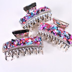 "3"" Gold Jaw Clips w/ Multi Color Chipped Stones 12 per pk  .54 each"