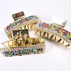 "3.5"" Gold Jaw Clips w/ Multi Color Acrylic Stones 12 per pk  .54 each"