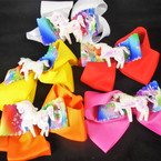 "5"" Layered  Gator Clip Bows w/ 2.5"" Sequin Unicorn Asst COlors   .54 each"