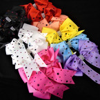 "5"" Tail Gator Clip Bows w/ Acrylic Stones  Asst Colors   .54 each"