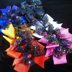 "5"" Gator Clip Bows  Asst Colors w/ Multi Color Sequins on Blk Lace  .54 each"