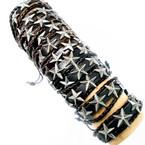 3 Strand Teen Leather Bracelet w/ Multi Silver Stars    .54 each