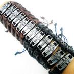 Black/Brown Leather Bracelets  I Love You Silver Cross  12 per pk  .54 ea