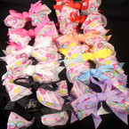 "5"" Layered  Gator Clip Bows w/ Butterfly Theme 12 per pk    .50 each"